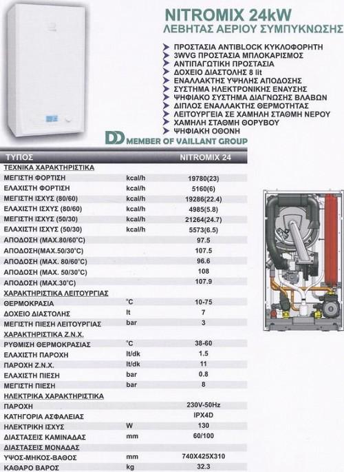 DemirDokum Nitromix 24kw Λέβητας Αερίου Υγραερίου Συμπύκνωσης με καμινάδα